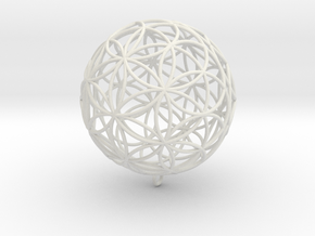 Pendant 88mm Flower Of Life in White Natural Versatile Plastic