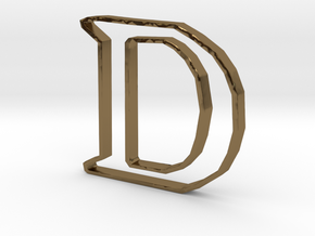 Typography Pendant D in Polished Bronze