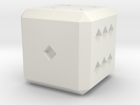 Six Sided Die in White Natural Versatile Plastic