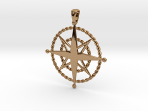 Compass Rose Pendant in Polished Brass