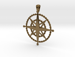 Compass Rose Pendant in Polished Bronze