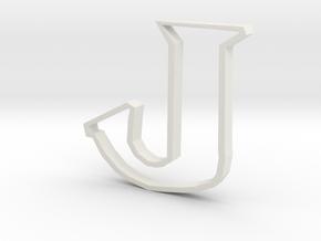 Typography Pendant J in White Natural Versatile Plastic