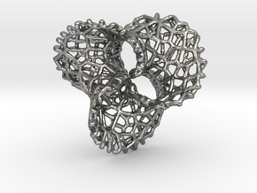 Scherk 7 Voronoi Mesh Pendant - 25mm in Raw Silver