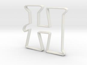 Typography Pendant H in White Natural Versatile Plastic