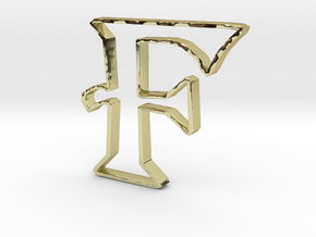 Typography Pendant F in 18k Gold