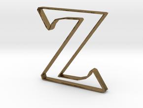 Typography Pendant Z in Natural Bronze