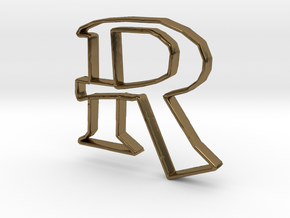 Typography Pendant R in Polished Bronze