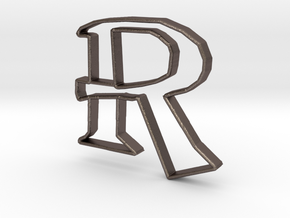 Typography Pendant R in Polished Bronzed Silver Steel