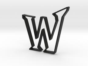 Typography Pendant W in Black Natural Versatile Plastic