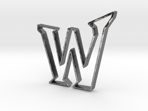 Typography Pendant W in Fine Detail Polished Silver
