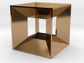 Hypercube Pendant in Polished Brass