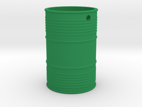 Steel Barrel Keychain in Green Processed Versatile Plastic