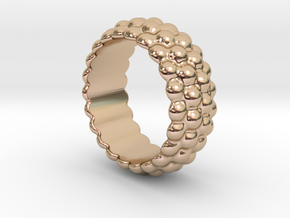 Big Bubble Ring 21 - Italian Size 21 in 14k Rose Gold Plated Brass