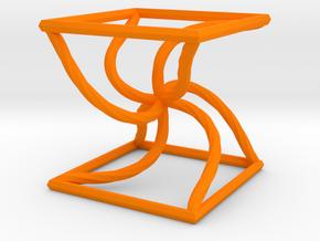 0051 Line Design Cube (5 cm) #003 in Orange Processed Versatile Plastic