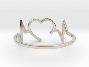 Size 7 Heartbeat in Rhodium Plated Brass