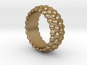 Big Bubble Ring 25 - Italian Size 25 in Polished Gold Steel