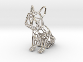 French Bulldog Wireframe Keychain (sitting) in Rhodium Plated Brass