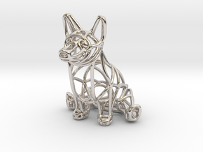 Corgi Wireframe Keychain (sitting) in Rhodium Plated Brass