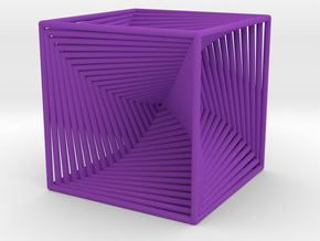 0045 Cube Line Design (3.25 cm) #001 in Purple Processed Versatile Plastic