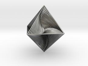 0047 Octahedron Line Design (4.6 cm) #001 in Fine Detail Polished Silver