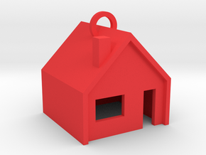 Customizable Keychain 'Little House' in Red Strong & Flexible Polished