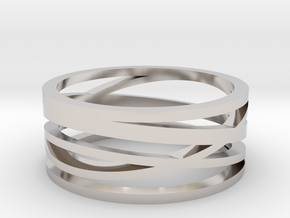 Abstract Lines Ring - US Size 08 in Platinum