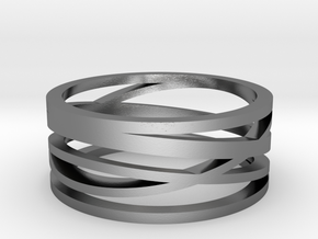 Abstract Lines Ring - US Size 08 in Polished Silver