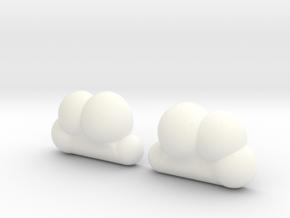 Cloud Studs in White Processed Versatile Plastic