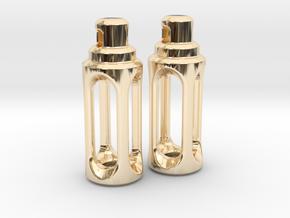 Tritium Earrings 4 (3x15mm Vials) in 14K Yellow Gold