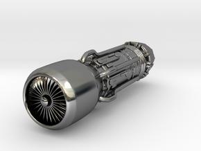 Jet Engine Keychain in Fine Detail Polished Silver
