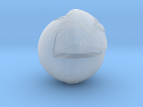Planet earth sectioned quarter in Smooth Fine Detail Plastic