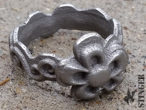 Flower Ring Size 6 1/2 in Polished Grey Steel