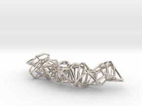 Voronoi Construction Framework Pendent in Rhodium Plated Brass