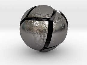 Relief planet Earth puzzle in Polished Nickel Steel