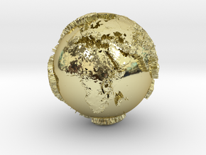 Planet Earth with relief continents highlighting in 18k Gold