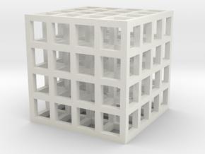 Mesh Cube Necklace  in White Natural Versatile Plastic