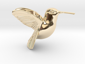 Hummingbird Pendant in 14k Gold Plated Brass