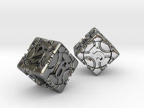 DICE 2 pack in Fine Detail Polished Silver