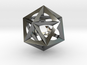 0300 Icosohedron (E&full color, 5 cm)  in Fine Detail Polished Silver