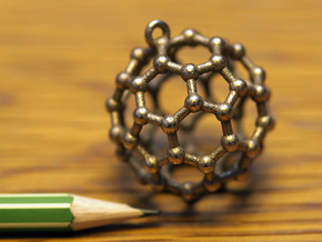 BuckyBall C60 Pendant Metal ~ 3cm in Polished Bronzed Silver Steel