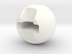 Zipper Ball in White Processed Versatile Plastic