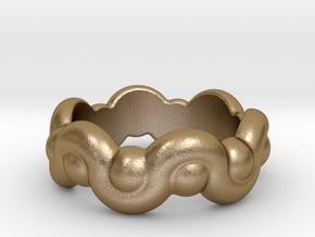 Strange Fantasy Ring 17 - Italian Size 17 in Polished Gold Steel