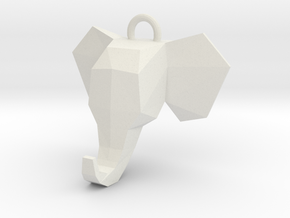 Elephant Pendant in White Natural Versatile Plastic
