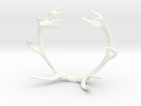 Red Deer Antler Bracelet 75mm in White Processed Versatile Plastic