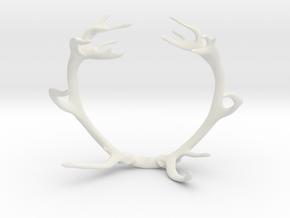 Red Deer Antler Bracelet 60mm in White Natural Versatile Plastic