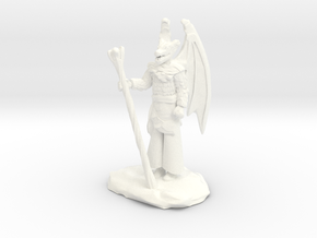 Winged Dragonborn Druid in Robes with Staff in White Processed Versatile Plastic