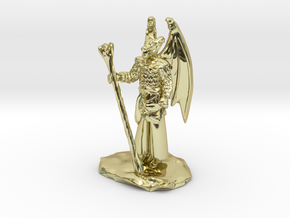 Winged Dragonborn Druid in Robes with Staff in 18k Gold