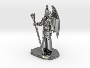 Winged Dragonborn Druid in Robes with Staff in Fine Detail Polished Silver