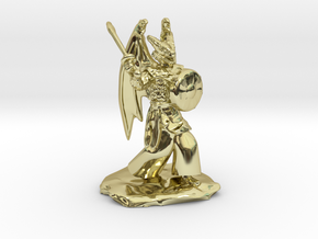 Winged Dragonborn Druid with Scimitar and Shield in 18k Gold