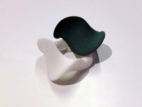 """Waves""  Left Hand Ring in Black Natural Versatile Plastic"